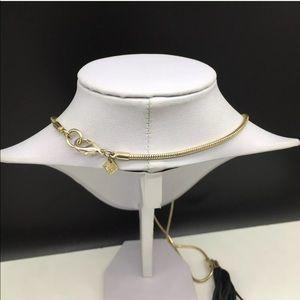 Banana Republic Jewelry - Banana Republic Black Leather Tassel Gold Necklace
